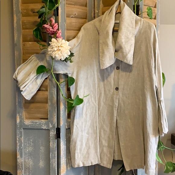 Bryn Walker 100% heavy linen Lagenlook jacket 🦜
